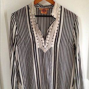 TORY BURCH Tunic Top Striped w/ Beaded Trim, 10